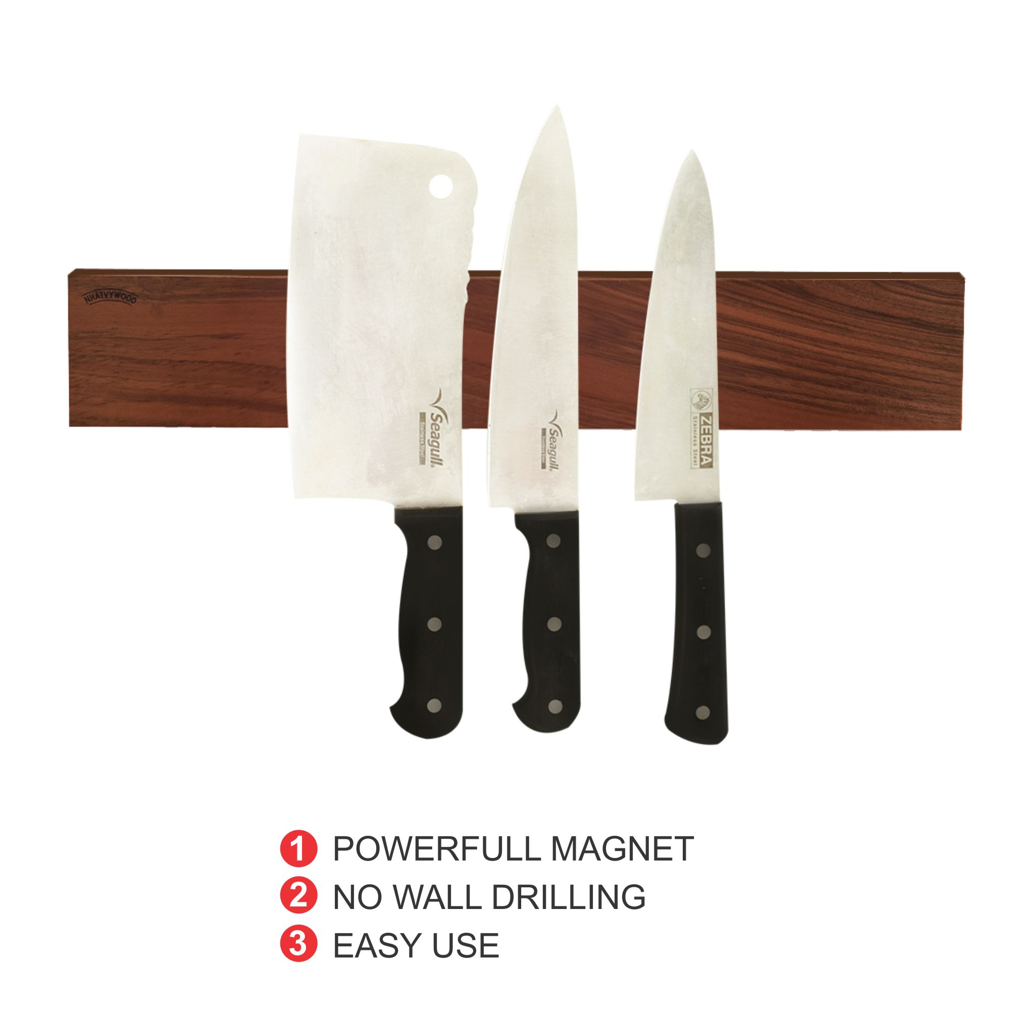 Strong 16'' walnut magnetic knife holder with 3M VHB Adhesive