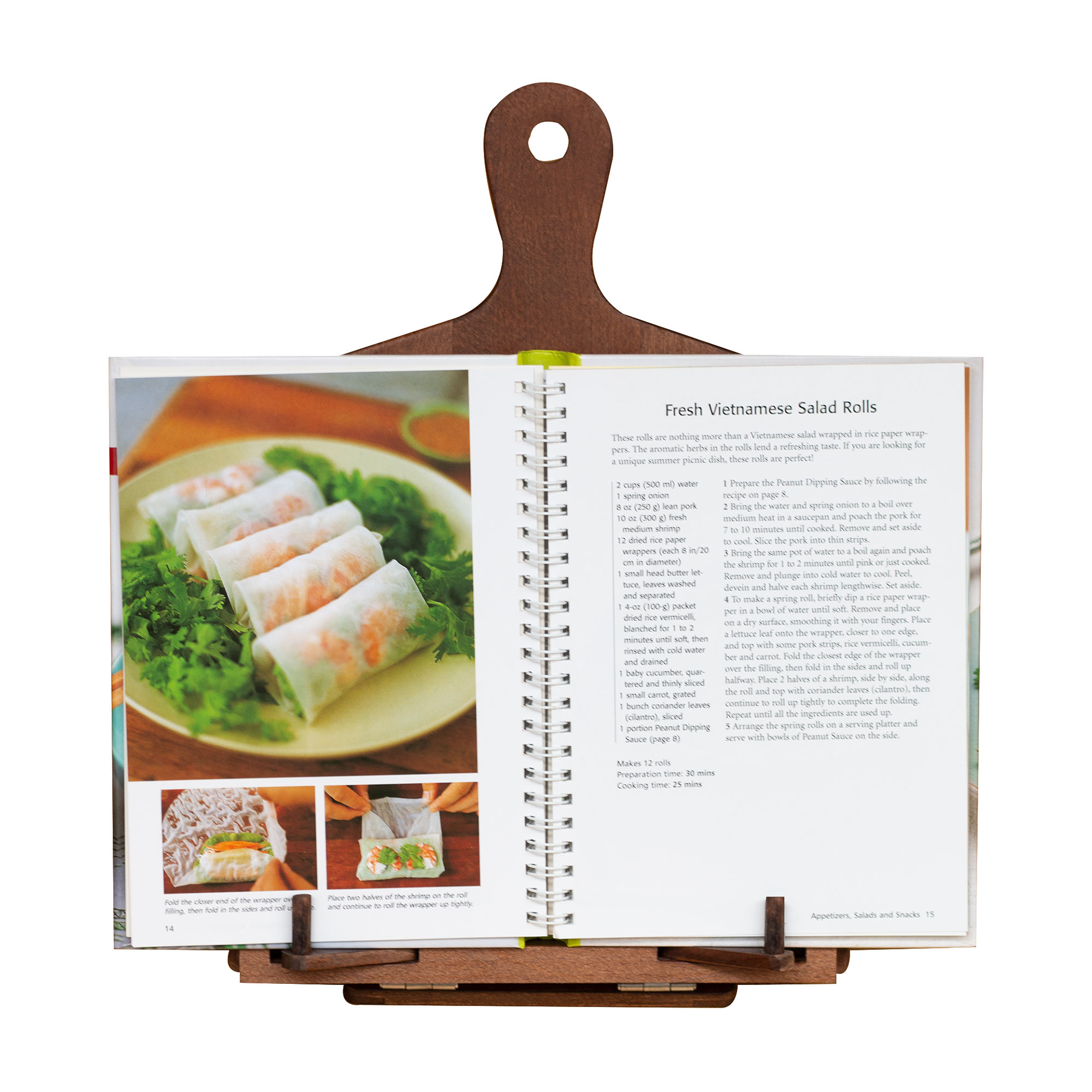 Nhatvywood kitchen cookbook holder stand, recipe book holder, cookbook or tablet with adjustable angle brown WCS 01